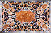 42 X 32 Black Marble Center Coffee Table Top Pietra Dura Marquetry Inlay Work