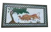 48 X 24 Green Marble Coffee Table Top Inlay Handmade Work For Home Decor