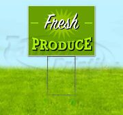 Fresh Produce 18x24 Yard Sign With Stake Corrugated Bandit Produce Stand