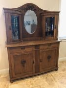 Antique Hutch From Latvia Solid Oak Cut Glass Ornately Carved Details
