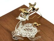Clear Glass Crystal Gold Tone Accent Santa Reindeer Vintage Christmas Ornament