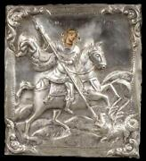 Fine Russian Icon Of St. George With Silver Oklad 1858