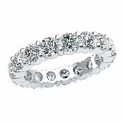 Round Diamond 4.50ct Womens Stackable Prong Eternity Wedding Band Ring 14k Gold