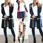 Womens Casual Long Sleeve Plaid Check Long Cardigans Tops Blouse Outwear Coat
