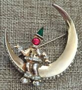 Rare Vintage 1945 Corocraft Gold Over Sterling Silver Man In The Moon Brooch Pin