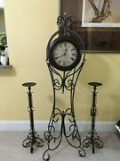 Stand Up Madison Clock And 2 Wrought Iron Candle Holders