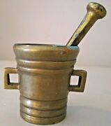 Antique Brass Mortar And Double Side Pestle Apothecary Collectible