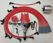 Small Cap Buick 350 Red Hei Distributor + 8mm Spark Plug Wires Usa + 60k Coil