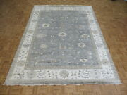 9 X 11and03911 Hand Knotted Light Blue Turkish Bamboo Silk Oushak Oriental Rug G8161
