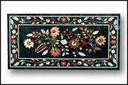 48 X 24 Green Marble Coffee Table Top Inlay Handicraft Art For Home Decor