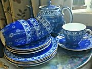 An Amazing Extremely Rare Shelley Chinacloisello Teaset For Fourmint Teapot
