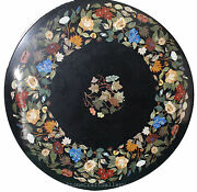 48 Black Round Marble Coffee Table Top Pietra Dura Inlay Work For Home Decor
