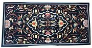 48 X 24 Table Top Marble Inlay Floral Pietra Dura Handmade Work Home And Garden