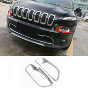 Front Headlight Lamp Cover Frame Decor Trim For 2014-2018 Jeep Cherokee Chrome