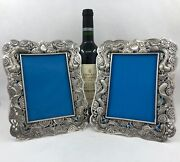 Pair Antique Chinese Export Silver Photo Frames With Dragons By Wc