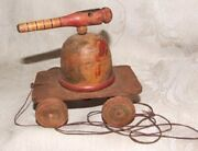 Antique One-of-a-kind Hand Made Wood Folk Art Turret Cannon Pull Toy On Wheels