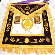Masonic Grand Master Apronpurple Fully Hand Embroidered-aap