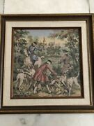 Vtq Vintage Intricate Colorful French Tapestry Pro Framed Dogs Horse Castle Wow