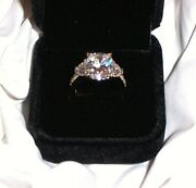 New Rare Vintage 6 Carat Cubic Zirconia 14k Gold Clad .925 Sterling Ring Size 6