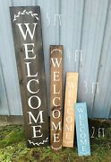 Farmhouse Welcome Sign, Asst Size Color Vertical Sign, Rustic Home Decor