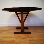 Antique Arts And Crafts Oak And Walnut Vendange Tilt Top Wine Tasting Table French