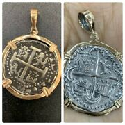 Two Atocha Silver Coin Pendant In 14k Gold Bezel