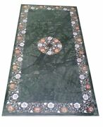 48 X 24 Green Marble Dining Inlay Floral Work Semi Precious Stones Work Art