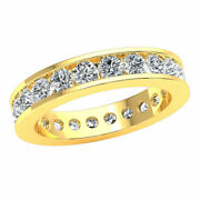 Natural 2.2 Ct Channel Set Eternity Band Ring Genuine Round Cut Diamond 18k Gold