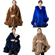 Real Cashmere And Wool Cape Coat Real Fox Fur Trim Shawls Wraps Wedding Party