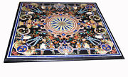 42 Black Marble Table Top Semi Precious Stone Inlay Work Home And Garden