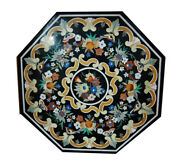 42 Black Marble Table Top Pietra Dura Inlaid Handmade Marquetry Work