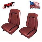 1967 Camaro Coupe Deluxe Front Seat Upholstery In Red W/black Stripe