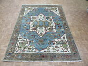 8and03910 X 12and0392 Hand Knotted Sky Blue Fine Serapi Oriental Rug G8124
