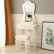 White Vanity Table With Mirror And Stool Set 3 Drawer Bedroom Makeup Desk Girls