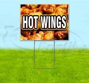 Hot Wings 18x24 Yard Sign With Stake Corrugated Bandit Usa Business Chicken