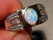 Mens Diamond And Opal Ring Solid 14k Yellow Gold 1.10 Ctw Of Diamonds