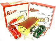 Schuco Command Car 2000 + Wende-limousine Wind-up Tin Toy Car And Garage Set 2 Mib