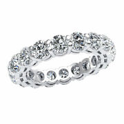 Natural 4.5ct Open Gallery Bridal Eternity Band Ring Round Diamond 14k Gold