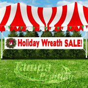 Holiday Wreath Sale Advertising Vinyl Banner Flag Sign Large Xxl Size Christmas