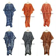 Indian Cotton Womenand039s Kaftans 5 Pc Lot Casual Beach Wear Gown Plus Size Caftan