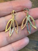 Vintage Feather Drop Dangle Earrings 14k Yellow White Rose Tri Color Gold