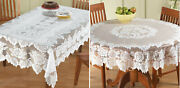 Lace Tablecloth Round Or Rectangle White Floral Rose Cover Elegant Dining Table