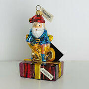 Santa Claus On Nordstrom Present Polonaise Glass Christmas Ornament Early 2000's