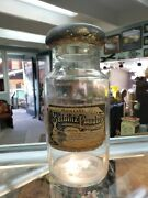 Antique Large Apothecary Jar Bottle With Label Seidlitz Powders Old Blown Glass