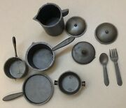 """Vintagedoll Toy Plastic 1.5-2"""" Pots And Pans Lids Fork Spoon Kitchen Lot Of 10"""