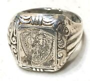 Vintage Antique Ww2 1945 Russian Officerandrsquos Military Hallmarked Silver 800 Ring