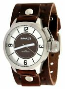 Nemesis Bb032b Menand039s Premium Wide Leather Cuff Band Russian Diver Watch