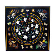 36 Black Marble Table Top Inlay Work Handicraft For Home Decorative