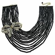 Heidi Daus Best In Bows Multi Strand Collar Necklace, Black And Clear Crystals