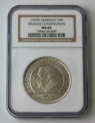 1929d Germany Silver 5 Reichmark Weimar Constitution Ngc Ms 64 72512jr